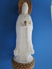 Chinese  White Porcelain  3 Side Kwan-yin Kwan Yin Goddess Statue with issues