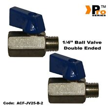 TWIN PACK- 1/4'' BSP Male- Double Ended Ball Valve for Air lines-Air Compressors