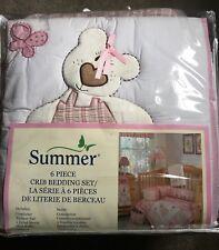 Summer Sweet Dreams Pink Baby Girl 6 Piece Nursery Crib Bedding Set