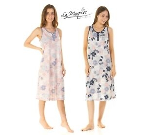 LADIES FLORAL SCATTERED FLORALJERSEY SUMMER  SLEEVE LESS NIGHTDRESS  S-XX 23330