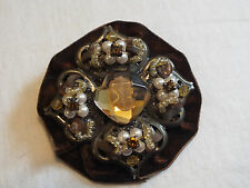 Beautiful Collectible Brooch Pin Cameo Velvet Amber Rhinestones Faux Pearls Wow