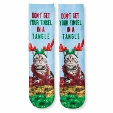 Womens Girls Cat Don't Get Your Tinsel In A Tangle Christmas Crew Socks Photo