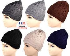 Mens Womens Winter Warm Cable Twist Knit  Beanie Crochet Hat Ski Many Colors