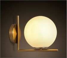 NEW Brass Pole Glass Ball Lamp Shade Sconce Wall Lights Bedroom Aisle Corridor