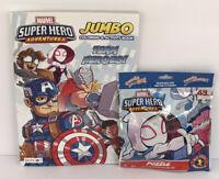 2 Piece Marvel AVENGERS Jumbo Coloring & Activity Book + Puzzle Kids Boys Art