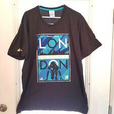 Adidas London 2012 Olympics T Shirt Poster  Blue Gold  Short Sleeve  Size XL NWT