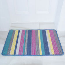 Washable Colourful Stripes Non Slip Rubber Floor Mat Easy Clean Kitchen Rugs UK