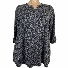 Catherines 3/4 Sleeve Henley Black Printed Mediumweight Top Plus Size 1X 18/20W