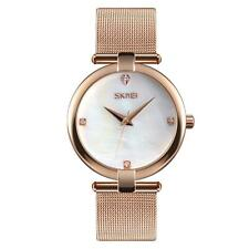 Skmei Women's Watch Rose Gold Mesh Chain Bracelet Strap Mother Of Pearl Dial