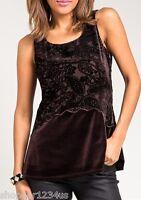 Brown Velvet Flocked Paisley Print Sleeveless Blouse Top S M L