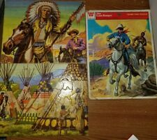 3 Vintage Children's Frame-Tray Puzzles 1951 Lone Ranger Whitman Native American