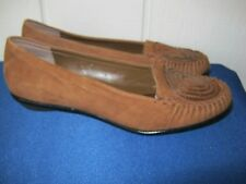MARKON Womens Brown Suede Leather Slip On Shoes 8.5 W Excel Cond