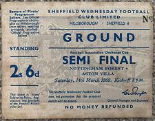 More details for nottingham forest v aston villa 1959 fa cup semi final ticket