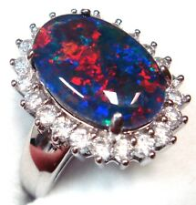 14x10mm Genuine Black Triplet Opal Ring Solid Silver FREE JEWELLERY BOX