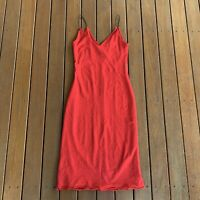 Vintage Miss Shop Size 10 Red Slip Dress Midi Sheer V Neck Cami Style Cocktail