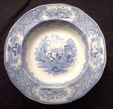 Antique Imperial Pottery J & MP Bell Triumphal Car Blue Transferware Plate Bowl
