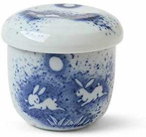 "Chawanmushi Custard Bowl Cup 3.25""D w/Lid Porcelain USAGI /Made in Japan"