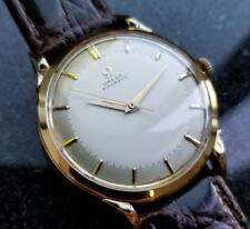 Omega Automatic 1940's Solid 14k Gold Rare Swiss 35mm Mens Watch on Croc LV350