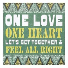 ONE LOVE ONE HEART LETS GET TOGETHER SIGN / WALL ART BY LYRICOLOGY DEMDACO