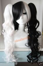 New heat-resistant Black mixed white monokuma cosplay curly wig + Two Ponytail