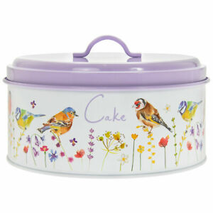 Cake Tin Storage Canister Garden Birds Lavender Airtight Floral Lilac Flowers