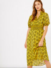 New M&S waisted Shirred DRESS Print Summer Vintage Style  MIDI M&S  size 10
