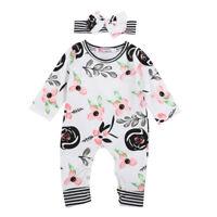 Newborn Baby Girls Flowers Romper Jumpsuit Bodysuit Headband Outfits Clothes USA