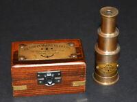 "Vintage brass maritime marine telescope 4"" spyglass scope with wooden box gift"