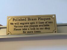 """Solid Brass Engraved Plaque Size 180 x 80 x 1.5 approx 7"""" x 3"""" Pet bench memoria"""
