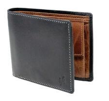 StarHide Mens Gents RFID Blocking Genuine Leather Wallet Purse 1190 Black Tan