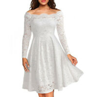 UK Women Ladies Vintage Lace Swing Skater Party Evening Retro Dress Size 8-22 PS