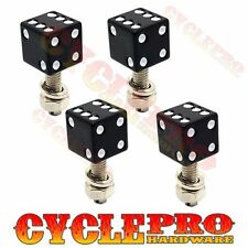 4 Black Real Dice White Dot License Plate Frame Tag Bolts Screws for Harley