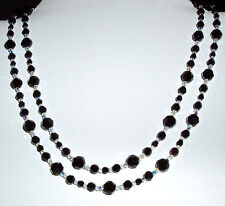 Glistening Black and Clear AB Crystal Necklace - Extra Long