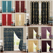 Semi Blackout Jacquard Curtains Fully Lined Eyelet & Pencil Pleat Curtain Pair
