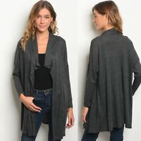 NWT Large Women's Open Front Charcoal Cardigan Long Sleeve Top Boutique Tunic