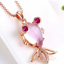 New Rose Gold Plated Pink Opal Crystal Fish and Apple Pendants w/Chain Set
