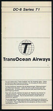 TRANSOCEAN vintage american airline DC 8 Series 71 SAFETY CARD ee e266