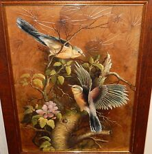 LARGE TWO BIRDS ON A TREE OIL ON REAL LEAFS PAINTING SIGNED