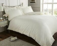 Windsor Cream Luxury Embroidered Percale Super King Size Duvet Cover Bed Set