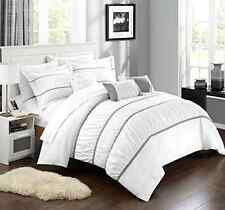 New 10 Piece Comforter Set Bed in a Bag Bedding Sheets King Size Bedspread White