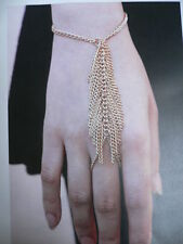 NEW WOMEN GOLD METAL HAND BODY CHAINS FASHION BRACELET 1 FINGER SLAVE RING LEAF