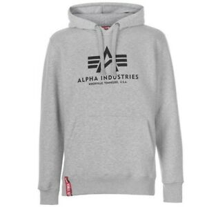 Brand New Alpha Industries Men's Basic Hoodie Top Extra Large XL Grey RRP £90
