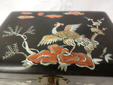 Vintage Chinese Lacquer Box Mother Of Pearls