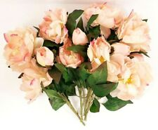 "Set Of 4 Artificial 15"" Peonies Peach W/A Touch Of Pink"