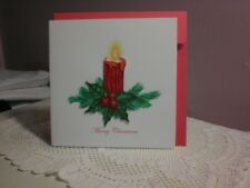 Quilling Cards LLC - 3D Red Christmas Candle Note Card