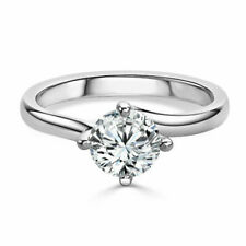 Round Cut 2.00 Ct Diamond Engagement Rings For Her 18K White Gold Size 5.5 6 7 8