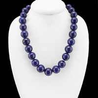 EXCELLENT SHINING AAA 1269.00 CTS NATURAL BLUE LAPIS LAZULI ROUND BEADS NECKLACE