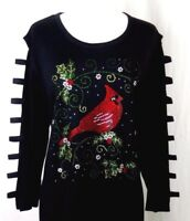 PLUS 2X Tunic Top Hand Embellished Rhinestone Christmas Cardinal Bird Holly