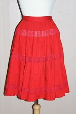 Vintage 1950s Red Circle Skirt Valentines X's & O's Crochet Lace Cutwork Small