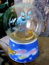 GENIE ON TREASURE PILE, SCHMID ROTATING MUSICAL SNOW GLOBE, NEW BUT NEEDS REPAIR